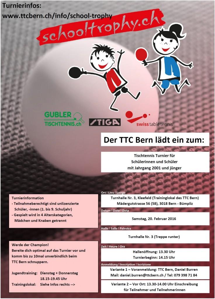 Plakat Schülermeisterschaft - TTC Bern